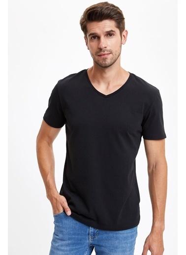 DeFacto Slim Fit V Yaka Basic Tişört Siyah